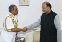 Naval Chief of Bangladesh, Admiral Nizamuddin Ahmad, on a trip to India