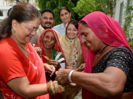 Jalore of women tied Minister Rakhi