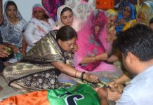 Chief Minister Vasundhara Raje laid the Ganges in the face of late Dr. Digambar Singh