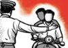 Constable hurts with a sticks on a speeding bike rider, seriously injured