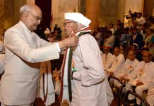Rameshwar Chaudhary, freedom fighter, honored, President Ramnath Kovind