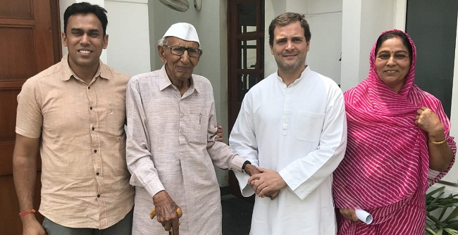 Freedom fighter, Rameshwar Chaudhary, met, Rahul Gandhi, amit pooniya, congress, rajasthan