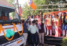 Chief Minister Vasundhara Raje, BJP vehicle